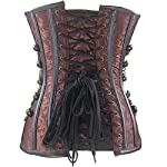 Burvogue Women Steampunk Corset Steel Boned Gothic Bustier 8