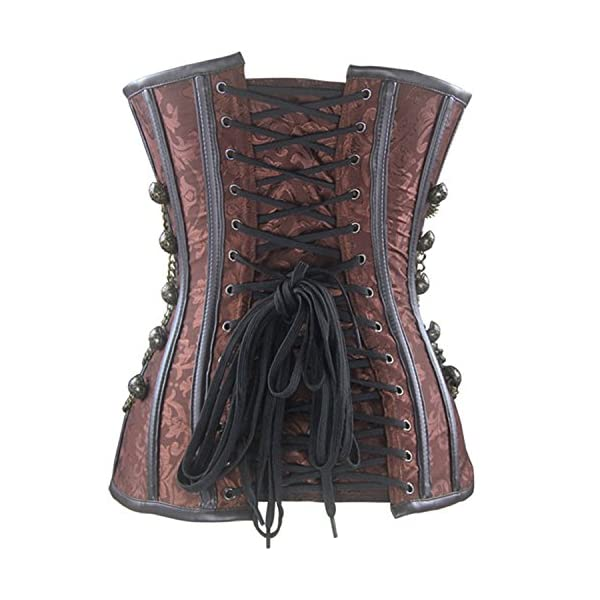 Burvogue Women Steampunk Corset Steel Boned Gothic Bustier 5