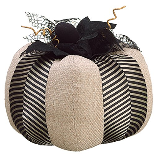 9''Hx10''W Artificial Pumpkin -Black/Natural (pack of 4) by SilksAreForever