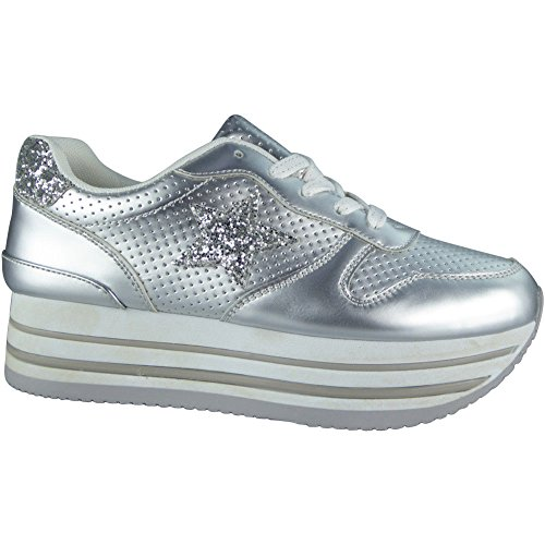 Loud Look Ladies Flatform Platform Trainers Womens Wedge Flat Sneakers Lace Up Shoes Size 3-8 Silver cd0KL