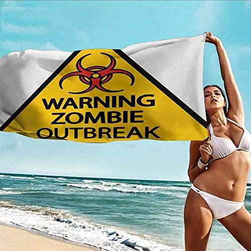Antonia Reed Sports Towel Balloon Zombie,Warning The Zombie Outbreak Sign Cemetery Infection Halloween Graphic,Earth Yellow Red Black,Suitable for Home,Travel,Swimming Use 32