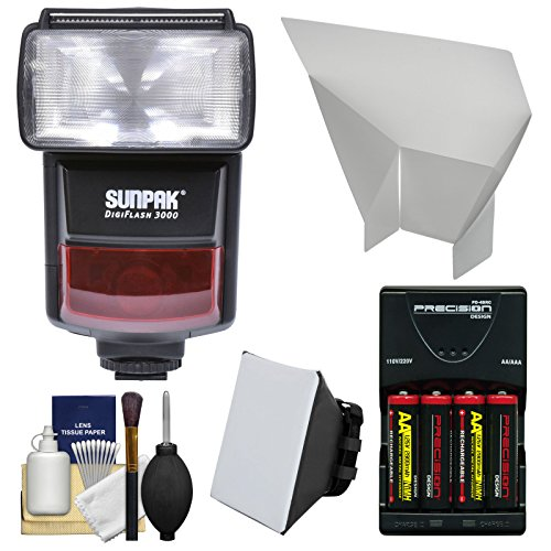 Sunpak DigiFlash 3000 i-TTL Electronic Flash Unit with Soft Box + Bounce Reflector + Batteries & Charger Kit for Nikon Digital SLR Cameras