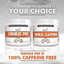 GENIUS PRE WORKOUT – All Natural Nootropic Preworkout Powder & Caff Free Nitric Oxide Booster w/ Beta Alanine, Alpha GPC + Rhodiola -  Focus, Energy + Muscle Building Supplement, Grape Limeade, 354G