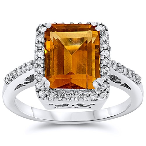 14k White Gold Genuine Citrine and Diamond Halo Ring, Birthstone of (Gold Citrine Cocktail)