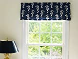 Coastal Nautical Sea Horse Navy Blue and White Window Curtain Valance with Ruffled Top Review