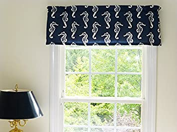 Coastal Nautical Sea Horse Navy Blue And White Window Curtain
