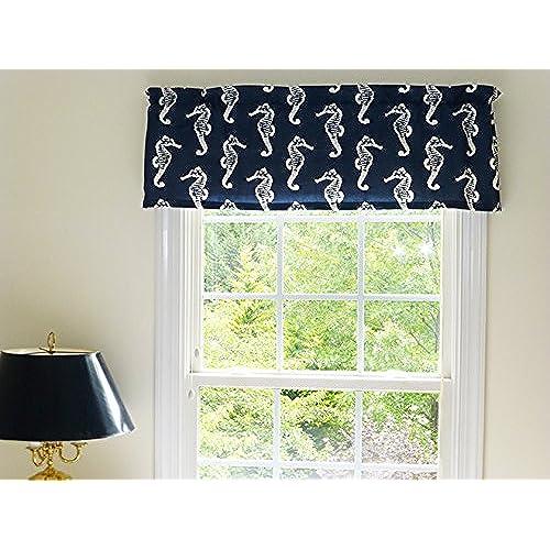 Coastal Nautical Sea Horse Navy Blue And White Window Curtain Valance With  Ruffled Top
