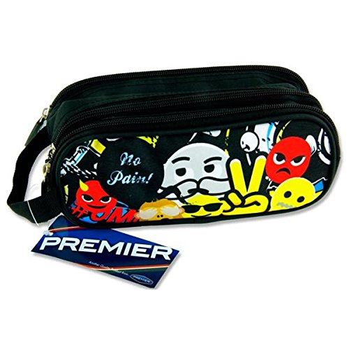 Premier cancelleria C5616270 Emoji, nessun dolore. Design Campus ovale 3 tasca zip Pencil Case Premier Stationery