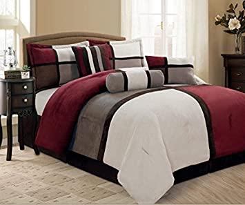 Amazon 7 Piece Maxam Burgundy Grey Brown Beige Bed In A Bag Micro Suede QUEEN Comforter Set Home Kitchen