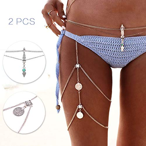 Yomiie Body Chain Sexy Harness 2PCS Silver Belly & Thigh Vintage Jewelry Hot Bikini Waist Pendant Stretchy Leg Tassel
