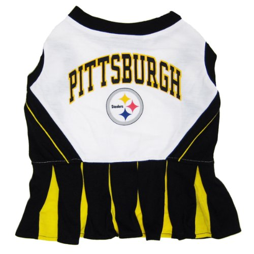 Pets First NFL Pittsburgh Steelers Dog Cheerleader Dress, Small (Pittsburgh Steelers Outfit)