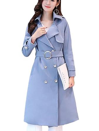 0cd30550f38f MatchLife Femme Manteau Habillé Trench Coat Chaud Longue Grandes Tailles  EUXS-3XL Veste Feminine Ceinturée