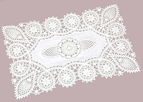 - Crochet Place Mats, Vinyl Crochet, Reusable Doilies, White, Set of 8, 12 X 18 Inches