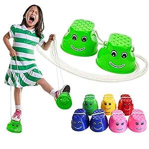 Monbedos infantile Addensato plastica Smile trampoli Balance Trainers giocattoli Outdoor Games Walking Jumping Stilts… 2 spesavip