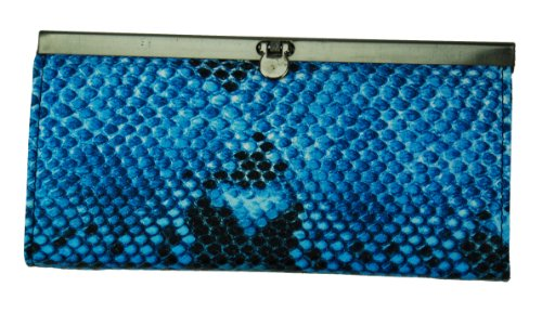 Clutch Wallet for Women Snake Textured Design Available in Vibrant Colors (Blue) (Wallet Textured Clutch)