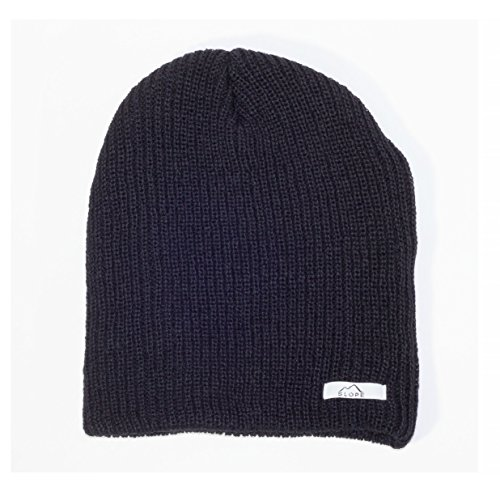 Slope Men's Daily Beanie Thin Double Ribbed Knit Beanie Black