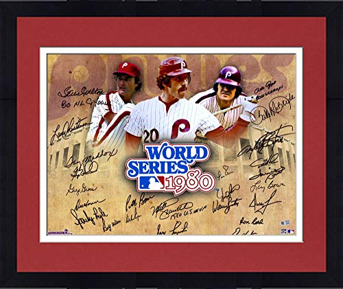 "Framed Philadelphia Phillies 1980 World Series Champions Team Autographed 16"" x 20"" 1980 World Series Collage Photograph with 24 Signatures and Multiple Inscriptions - Fanatics Authentic Certified"