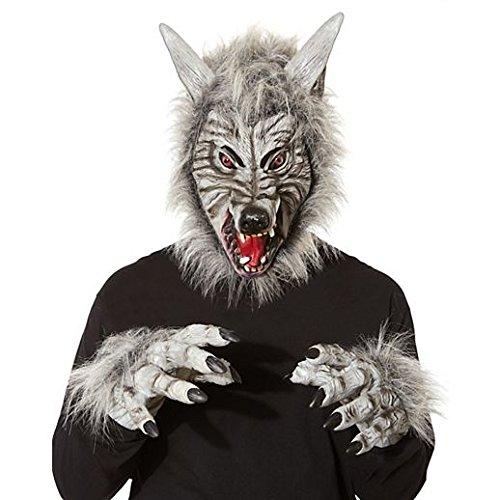 [Costume Beautiful Grey Wolf Mask With Hands] (Beautiful Witch Costumes)