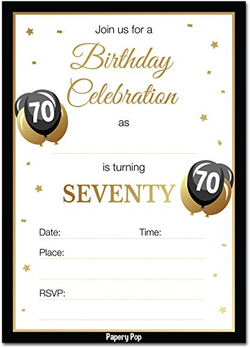 70th Birthday Invitations with Envelopes (30 Count) - 70 Seventy Year Old Anniversary Party Celebration Invites Cards -