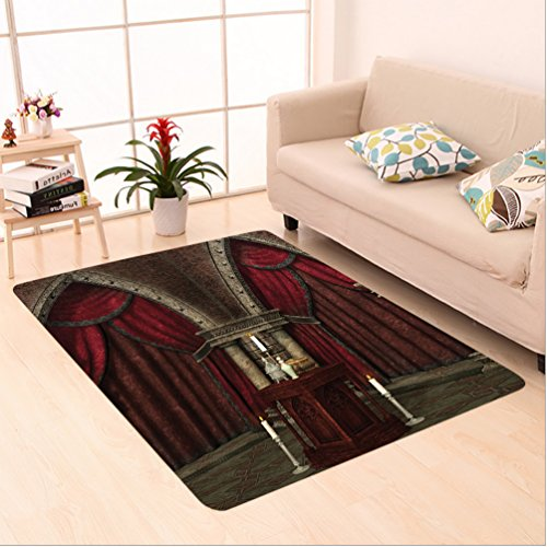 3' Small Pillar Candle (Nalahome Custom carpet r Mysterious Dark Room in Castle Ancient Pillars Candles Spiritual Atmosphere Pattern Ruby Umber area rugs for Living Dining Room Bedroom Hallway Office Carpet (2' X 3'))