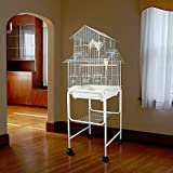 Anini Apartment Housetop Bird Cage with Stand - 18''W x 18''D x 58''H - White