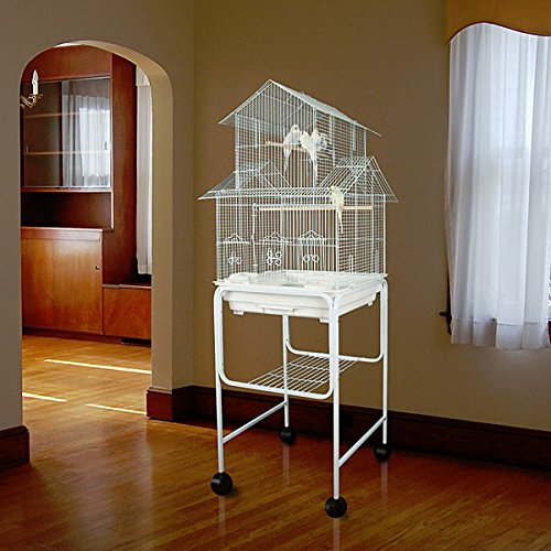 Anini Apartment Housetop Bird Cage with Stand - 18''W x 18''D x 58''H - White by Bird Cages 4 Less