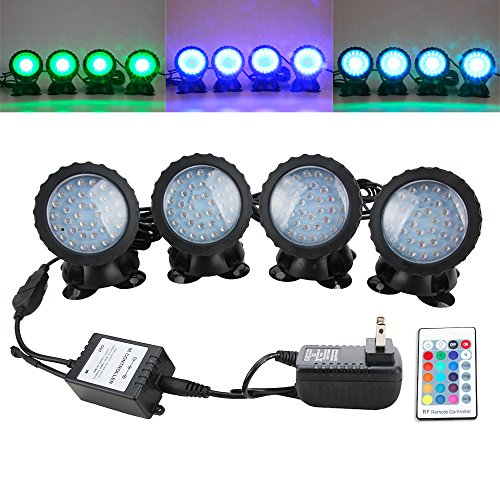 Senzeal Pond Lights RGB Color IP68 Waterproof 36 LED Spot Light with Remote Control for Garden Pond Fountain Lighting by Senzeal (Image #6)