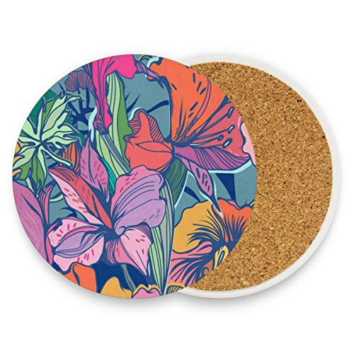 Bright Vintage Flower Coasters, Protection For Granite, Glass, Soapstone, Sandstone, Marble, Stone Table - Perfect Drink Coasters,Round Cup Mat Pad For Home, Kitchen Or Bar 1 Piece -