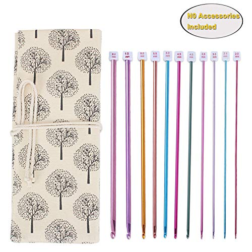 Teamoy Tunisian Crochet Hook Organizer Bag(up to 14 Inches), Cotton Canvas Roll Wrap for Afghan Crochet Hooks, Knitting Needles and Accessories, Tree by Teamoy (Image #10)