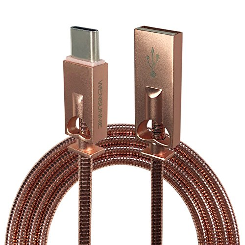 (USB 3.0 Type C Cable 3.3FT,WENSUNNIE USB C Cable Premium Elastic Stainless Steel USB C to USB A Fast Charger Cord Compatible with Galaxy S9 S8 Note 8, MacBook, Nexus 6P 5X, Pixel (3.3FT Rose Gold))