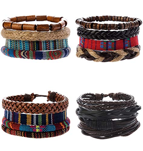 REVOLIA 8-16Pcs Leather Bracelets for Men Women Hemp Cords Ethnic Tribal Bracelet Beaded Wrap Wristbands
