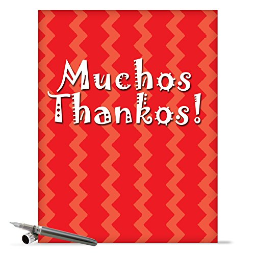 J9101 Jumbo Funny Thank You Card: Muchos Thankos With Envelope (Extra Large Version: 8.5'' x 11'')