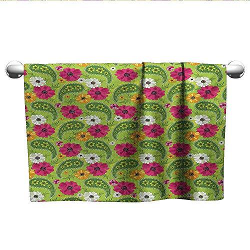 ess Towels Floral Pattern with Vivid Paisley Print Old Vintage Boho Style Print Dry Fast Towel Pistachio Pink Orange W 20