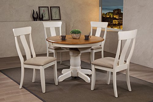 "Iconic Furniture 5 Piece Round Panel Back Upholstered Dining Set, 42"" x 42"" x 60"", Antiqued Caramel/Biscotti"