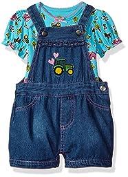 John Deere Baby Girls\' Overall Short Set, Turquoise/Denim, 9/12M