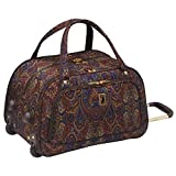 Girls Brown Blue Paisley Floral Themed Wheeled Duffle Bag Upright Rolling Duffle, Beautiful Luxury Motif Flowers Printed Carry on, Travel Duffel with Wheels, Wheeling Luggage, Handle, Fashionable