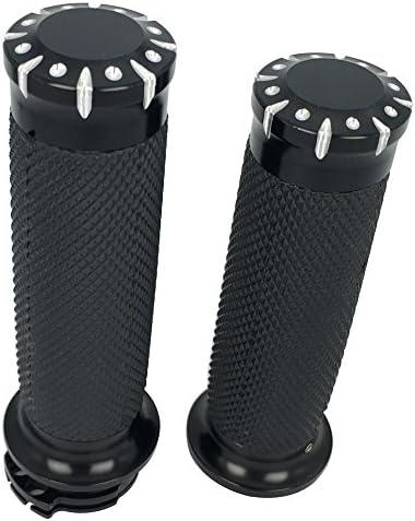 "Chrome CNC Edge Cut 1/"" Handlebar Hand Grips Sportster Dyna Softail Touring VRSC"
