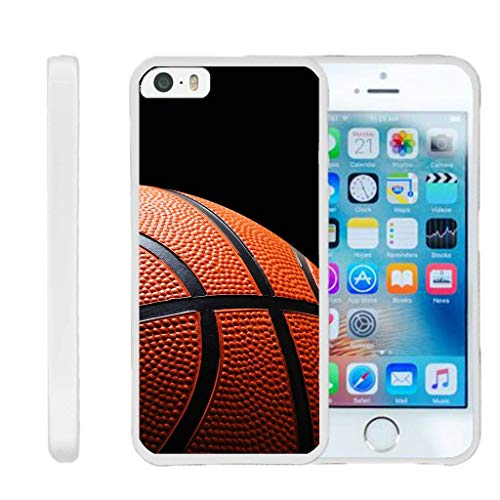 TurtleArmor | Compatible for Apple iPhone SE Case | iPhone 5/5s Case [Flexible Armor] Resistant Slim Fitted Flexible TPU Case Soft Bumper Cover Sports and Games Design - Basketball Seams