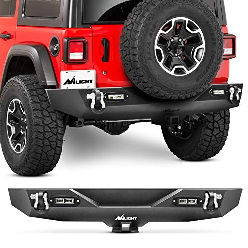 Nilight JK-57A Rear Compatible for 18-19 Jeep Wrangler JL,Rock Crawler Bumper with Hitch Receiver & 2X Upgraded 40W LED Lights Off Road Textured Black,2 Years Warranty