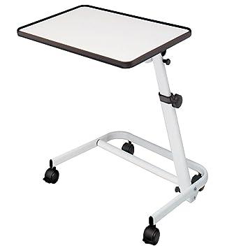 Mesa auxiliar de cama plegable, reclinable y con ruedas y freno color blanco: Amazon.es: Juguetes y juegos
