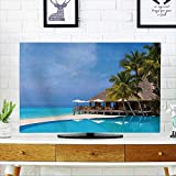 PRUNUS Television Protector Cafe and Pool on a Tropical Beach Travel Background Television Protector W19 x H30 INCH/TV 32''