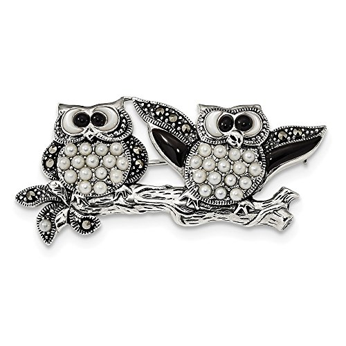 925 Sterling Silver Marcasite Black Agate and Cultured Pearl Fancy OWL Pin for (Marcasite Owl Pin)
