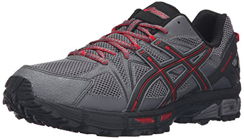 ASICS Men's Gel-Kahana 8 Trail Runner, Shark/Black/True Red, 10.5 M US