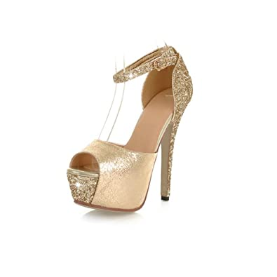 4a009c482553 Amazon.com | Tunataka Women's Sequin Sexy Party Ankle Strap Platform High  Heels Sandals | Heeled Sandals