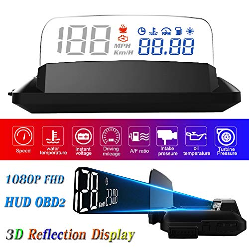Big Save! 5″ FHD 1080P LED OBD2 HUD Display Car 3D Reflection Enough Clear Image Against Sunlight ECU Datas Display Oil/Water Temperature Speedometer Odometer Fuel Consumption Turbo Pressure Engine Fault Alarm