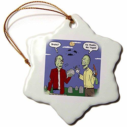 3dRose Rich Diesslins Funny General Cartoons - Halloween - Zombie Vegans - 3 inch Snowflake Porcelain Ornament -