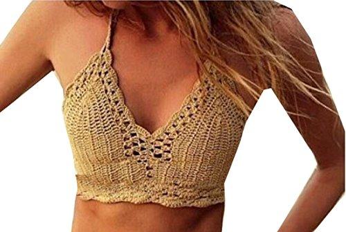 Jaycargogo Womens Sexy Summer Crochet Lace Crop Tops Bikini Bra Khaki OS - Confederate Flag Swimwear