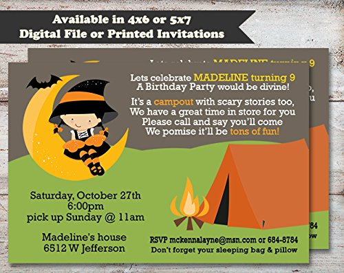 Slumber Party Halloween, Costume or Birthday Party Invitation, Set of 10 5