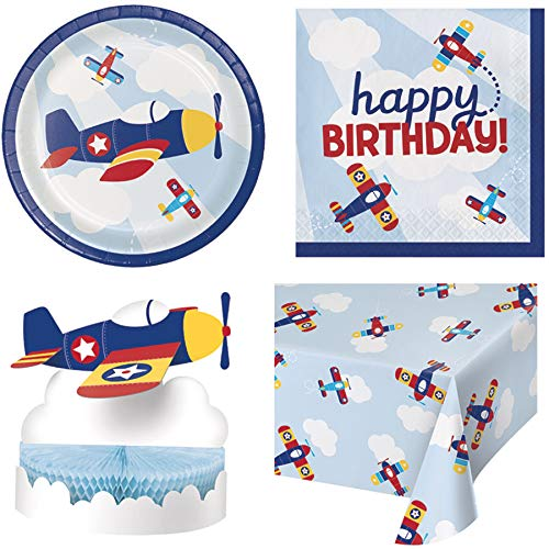 Olive Occasions Lil' Flyer Airplane Disposable Paper Party Happy Birthday Supplies 16 Cake Plates, 16 Lunch Napkins, Table Cover, Centerpiece]()