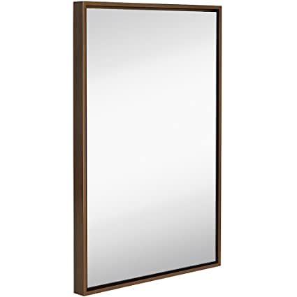 Hamilton Hills Clean Large Modern Copper Frame Wall Mirror | Contemporary  Premium Silver Backed Floating Glass